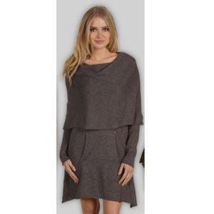 Kensie Drape Neck Sweater Dress Gray Medium
